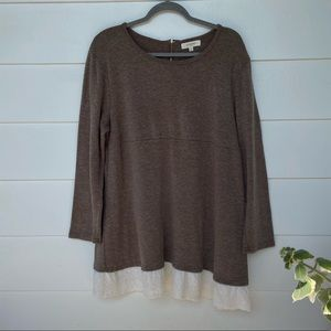Umgee + Brown Sweater With Lace Details Zipper 1X
